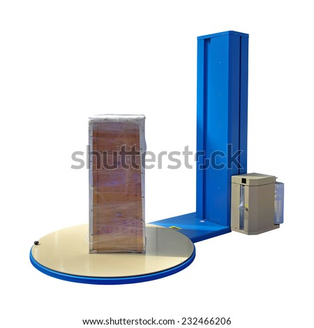 Pallet Stretch Wrapping machine isolated included clipping path - stock photo