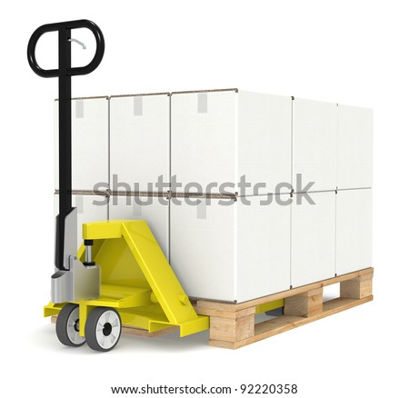 Pallet Truck. Pallet Truck/Jack and a Pallet With Cardboard Boxes. Part of a Blue and yellow Warehouse and logistics series. - stock photo