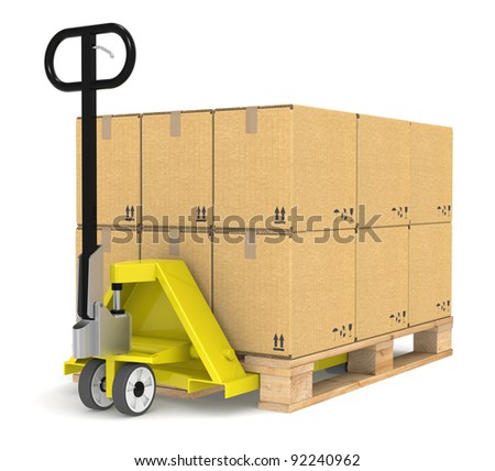 Pallet Truck. Pallet Truck/Jack and a Pallet With Cardboard Boxes. Part of Warehouse and logistics series. - stock photo