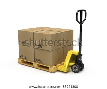 Pallet truck stacked with pallet and boxes - stock photo
