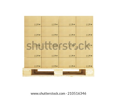 pallet with cardboard boxes, 3d rendering - stock photo