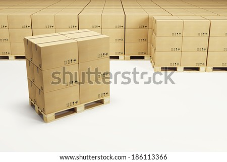 pallets with cardboard boxes, 3d rendering - stock photo