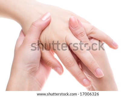 palm and fingers massage, high key
