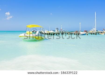 Palm Beach at Aruba - stock photo