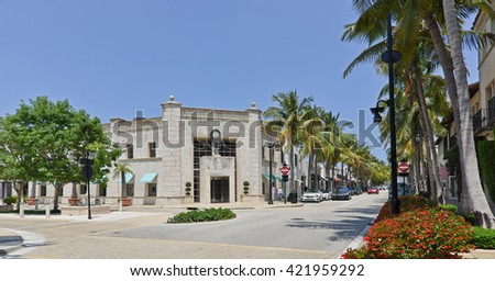 PALM BEACH, FL - MAY 14: Beautiful and safe Worth Avenue in Palm Beach, Florida, May 14, 2016. This upscale, and chic shopping avenue is a favorite attraction, for tourists and locals.  - stock photo