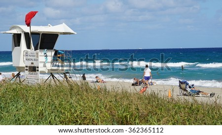 PALM BEACH, FL - NOV 29: Palm Beach in Florida, as seen on Nov 29, 2015. Palm Beach is the easternmost town in Florida, located on a 16-mile (26 km) long barrier island. - stock photo