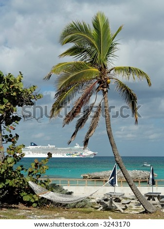 Palm beach with a cruiseship in the background - stock photo