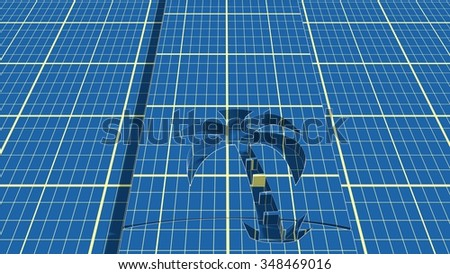 palm cutting silhouette on blue print net backdrop. image relative to sea traveling - stock photo