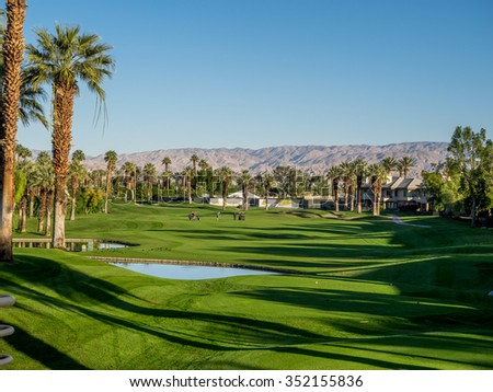PALM DESERT, CA - NOV 14: Golfing at the golf courses at the Marriott Villas Desert Springs on November 14, 2015 in Palm Desert, California. The Marriott is popular golf and convention destination.