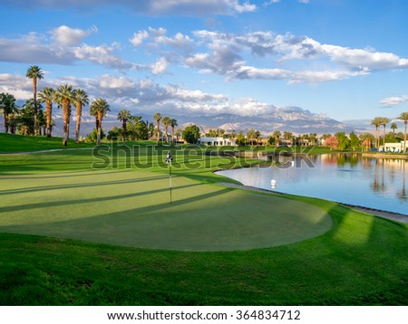 PALM DESERT, CA - NOV 15: Putting green at a golf course at the JW Marriott Desert Springs Resort & Spa on November 15, 2015 in Palm Desert, CA. The Marriott is popular golf destination.