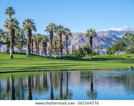 PALM DESERT, CA - NOV 19: View of water features at a golf course at the JW Marriott Desert Springs Resort & Spa on November 19, 2015 in Palm Desert, CA. The Marriott is popular golf destination.