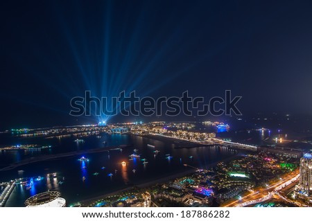 Palm Jumeirah on a New Years eve 2013,Palm Jumeirah is a hugely popular residential area located in the sea. - stock photo