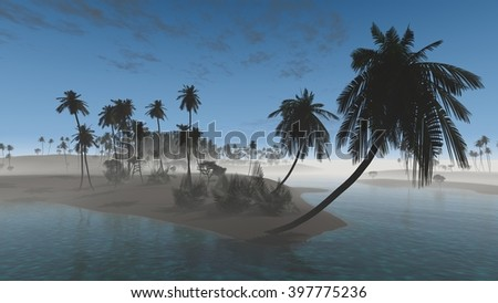 palm oasis in the desert in the early morning fog, 3D rendering. Palm Beach Ocean - stock photo