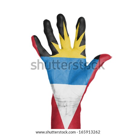Palm of a woman hand, painted with flag of Antigua and Barbuda