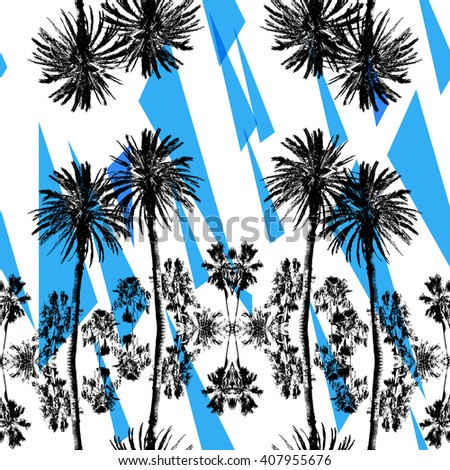 Palm patterns tropical backgrounds. Black silhouette palm trees on a floral background. Flowers watercolor painted backdrop. Primitive silhouette palm trees. - stock photo
