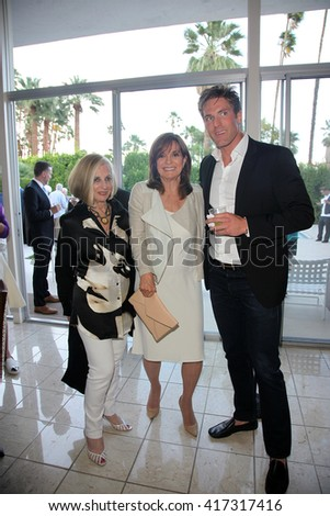 PALM SPRINGS - APR 27: Helene Galen, Linda Gray, Grafton Doyle at a cultivation event for The Actors Fund at a private residence on April 27, 2016 in Palm Springs, California - stock photo
