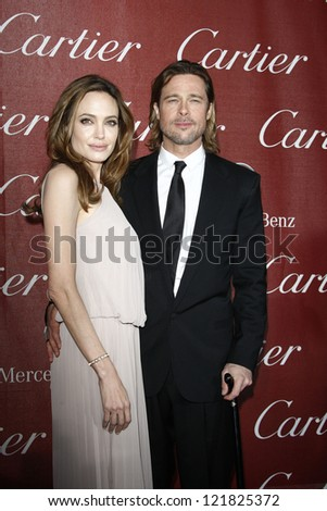 PALM SPRINGS, CA - JAN 7: Brad Pitt; Angelina Jolie at the 23rd Annual Palm Springs International Film Festival Awards Gala at the Palm Springs Convention Center on January 7, 2012 in Palm Springs, CA - stock photo