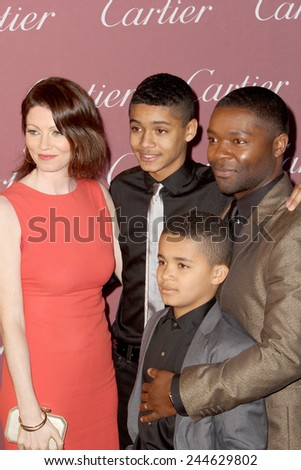 PALM SPRINGS, CA - JAN 3: David Oyelowo and family arrive at the 2015 Palm Springs International Film Festival Awards Gala at the Palm Springs Convention Center on January 3, 2015 in Palm Springs, CA. - stock photo
