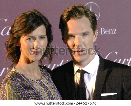 PALM SPRINGS, CA - JAN 3: Sophie Hunter and Benedict Cumberbatch arrive at the 2015 Palm Springs Film Festival Awards Gala at the Palm Springs Convention Center on January 3, 2015 in Palm Springs, CA. - stock photo