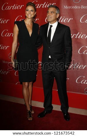 PALM SPRINGS, CA - JAN 7: Stacy Keibler; George Clooney at the 23rd Palm Springs International Film Festival Awards Gala at the Palm Springs Convention Center on January 7, 2012 in Palm Springs, CA - stock photo
