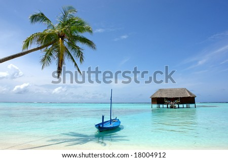 palm tree and boat on tropical beach - stock photo