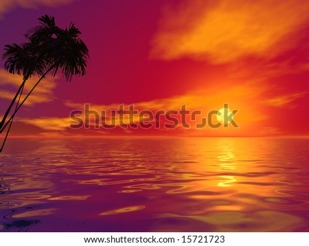 Palm tree and ocean at sunset. 3D rendered work - stock photo