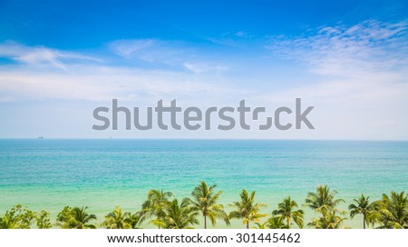 Palm tree with beautiful seascape - stock photo