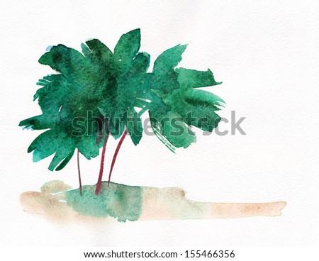 Palm trees and coastline - stock photo
