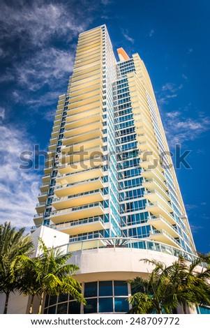 Palm trees and skyscraper in Miami Beach, Florida. - stock photo