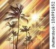 Palm trees at sunset. Raster version - stock photo