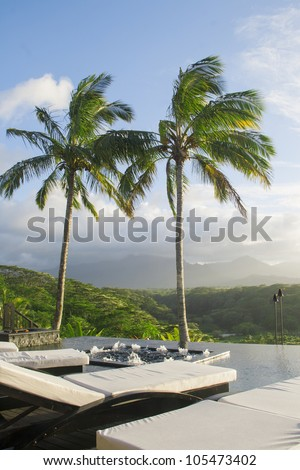 Palm trees by the pool, tropical island of Kauai, Hawaii. Sunset. Vertical picture - stock photo