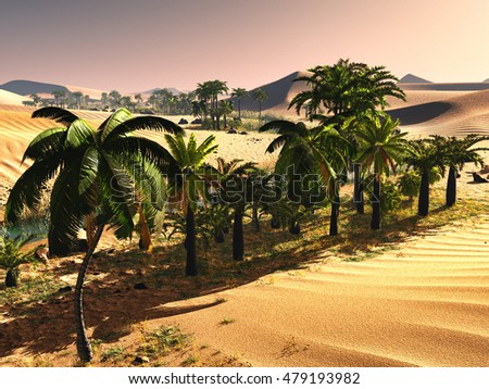 Palm trees near oasis 3d illustration