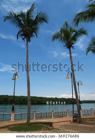 Palm trees on promenade, Kuantan, Malaysia - stock photo