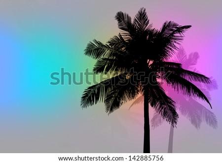 Palm Trees Sunset Retro - Tropical coconut palm tree silhouettes illustration. - stock photo