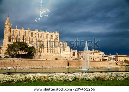 Palma Cathedral before the thunderstorm, Palma de Mallorca, Spain - stock photo