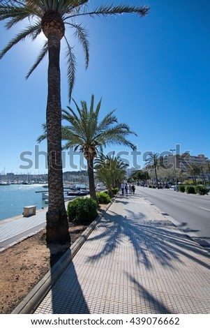 PALMA DE MALLORCA, BALEARIC ISLANDS, SPAIN - APRIL 13, 2016: Seaside biking route with marina and palm trees on a sunny day in Palma de Mallorca, Balearic islands, Spain on April 13, 2016.