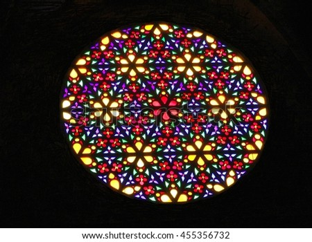 PALMA DE MALLORCA, MAJORCA, SPAIN - May 21. Colorful stained glass window in Cathedral Santa Maria de Palma, also called Cathedral La Seu, on May 21, 2015 in Palma de Mallorca.