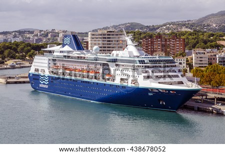 Palma de Mallorca, Spain - October 2, 2015: Pullmantur Empress port of Palma de Mallorca Spain, Mediterranean cruise with 48563 tonnage and a capacity of 1877 passengers