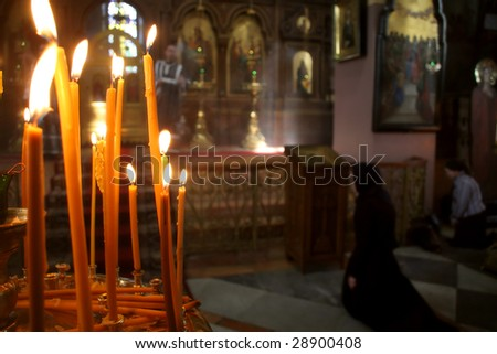 Palmers during Easter mass in the Russian Orthodox church in Jerusalem, Israel.