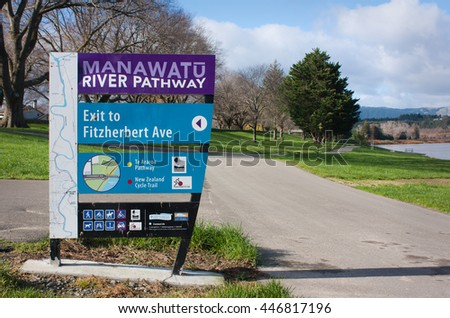 Palmerston North, New Zealand - July 1st 2016: Manawatu River pathway.
