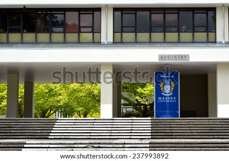 PALMERSTON NORTH, NZL - NOV 29  2014:Massey University. It's the only university in New Zealand offering degrees in aviation, dispute resolution, veterinary medicine and nanoscience. - stock photo