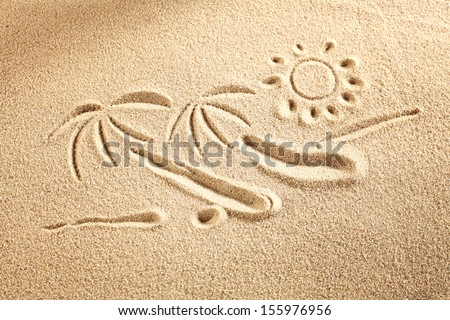palms and sand  - stock photo