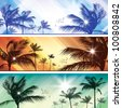 Palms at sunset. Raster version - stock photo