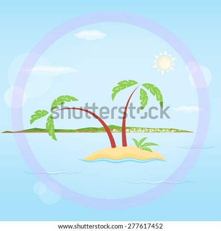 Palms island and a town - stock photo