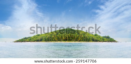 Palms, island and sea. Summer background. Thailand.  - stock photo