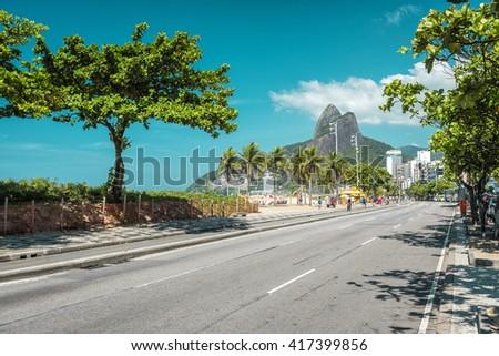 Palms on Ipanema Beach in Rio De Janeiro, Brazil. Vintage colors - stock photo