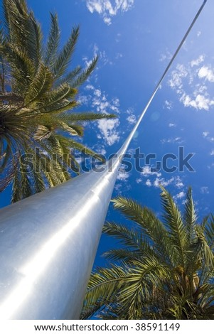 palms with modern element - stock photo