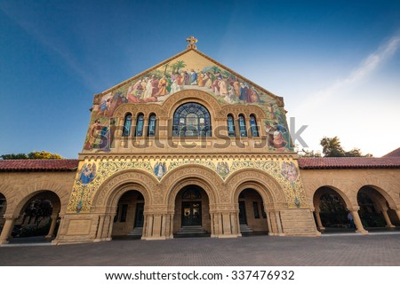 PALO ALTO, USA - OCT 22 2014: Memorial Church at Stanford University. Stanford University is one of the world's leading research and teaching institutions. It is located in Stanford, California. - stock photo