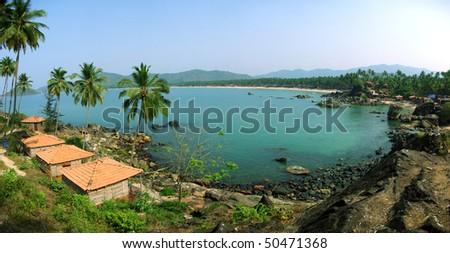 Palolem Beach lagoon, Goa. Panoramic from 5 photos - stock photo