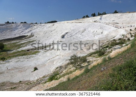 """Pamukkale, which means """"cotton castle"""" in Turkish, is natural site in southwest Turkey.  - stock photo"""